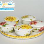 Bộ khay mứt ngũ hoa gốm sứ Minh Long (không núm)