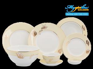 Bộ đồ ăn Camellia Hương Biển Kem 25 sản phẩm