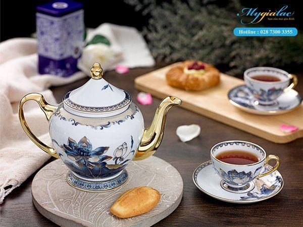 Bộ trà sen ngọc Minh Long 0.8L
