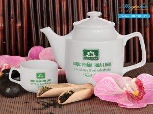 Bộ ấm trà Jasmine in logo Công ty TNHH Dược Phẩm Hoa Linh