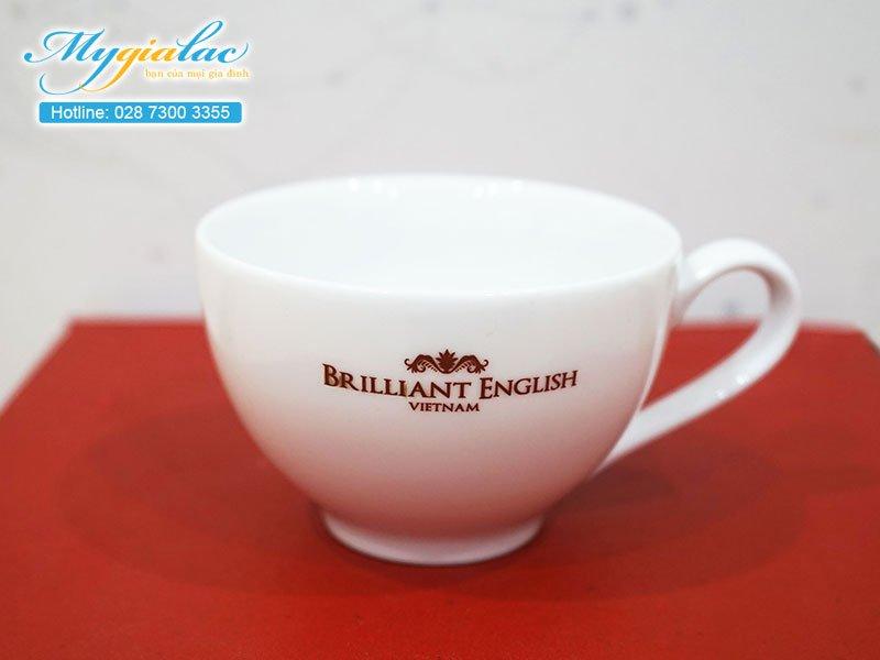 Quà tặng sứ kiện tách sứ Minh Long in logo Brilian English