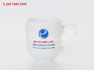 Ca sứ mẫu đơn in logo Viện Pasteur Thành Phố Hồ Chí Minh