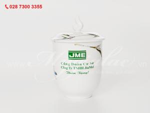 Ca sứ mẫu đơn thanh trúc in logo Công ty TNHH Jiamei