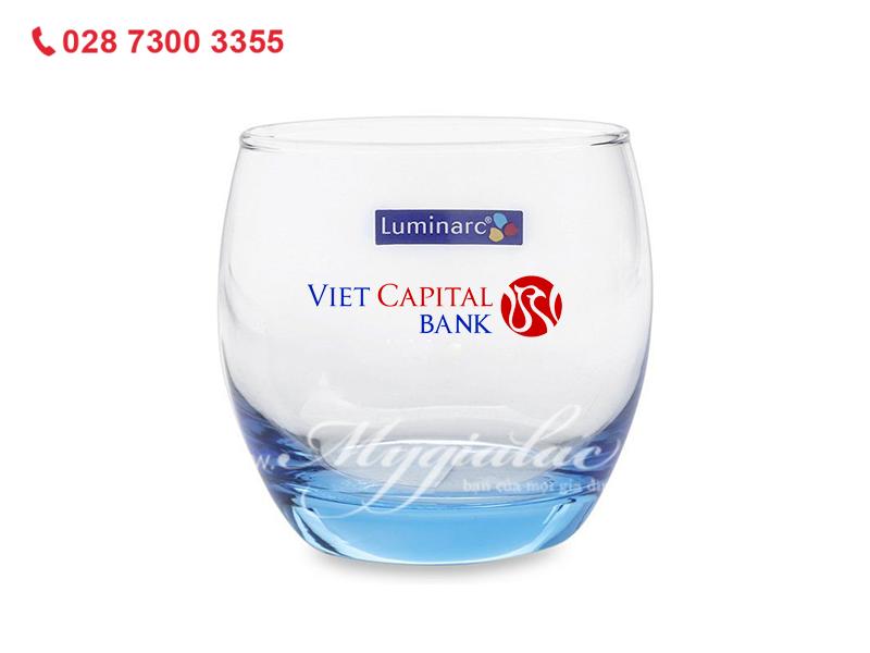 Quà tặng 8/3 Ly Thủy Tinh Thấp Luminarc Salto Ice Blue 320ml In Logo Vietcapital Bank