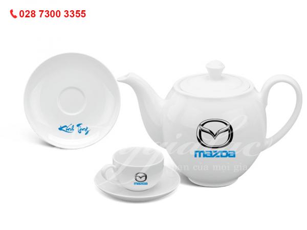 Bộ ấm trà Camellia Trắng 0.8L In Logo Mazda
