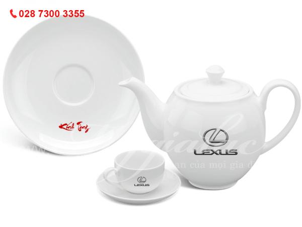 Bộ ấm trà Camellia Trắng In Logo Lexus