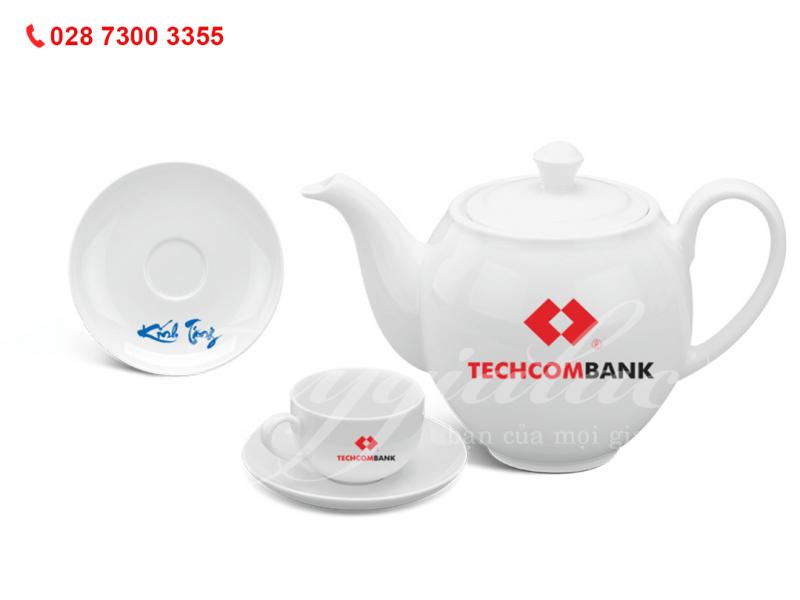 Bộ ấm trà Camellia Trắng In Logo Ngân Hàng Techcombank