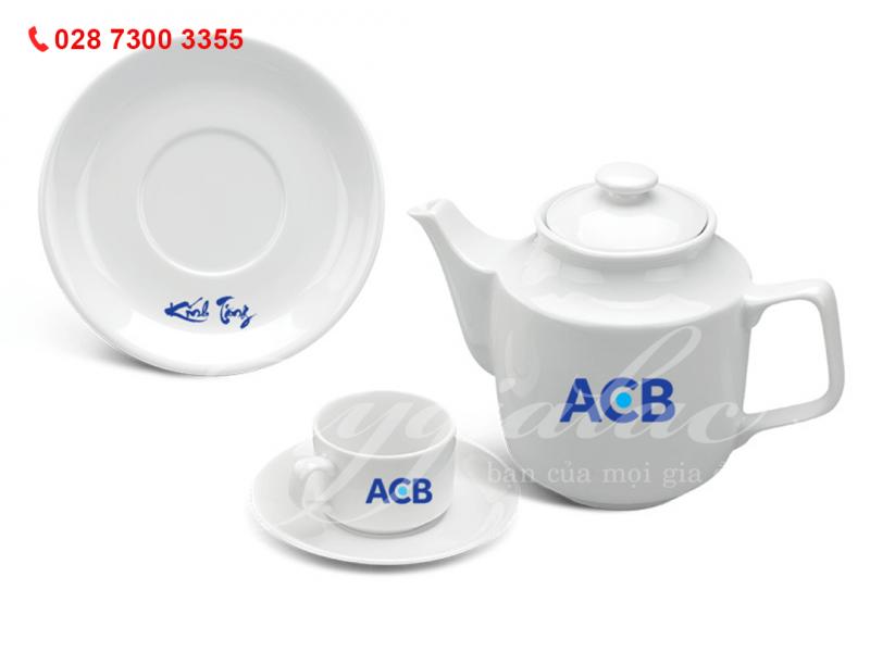 Quà tặng doanh nghiệp Bộ Ấm Trà Jasmine Trắng In Logo Ngân Hàng ACB