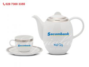 Quà tặng doanh nghiệp Bộ Ấm Trà Sago Thiên Tuế In Logo Ngân Hàng Sacombank