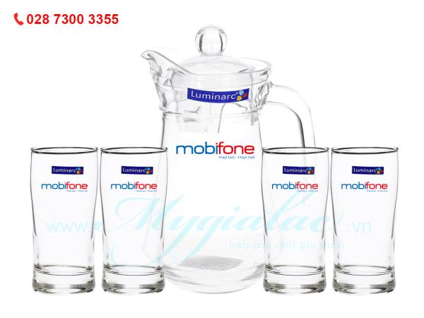 Bộ Bình Ly Thủy Tinh Luminarc In Logo Mobifone