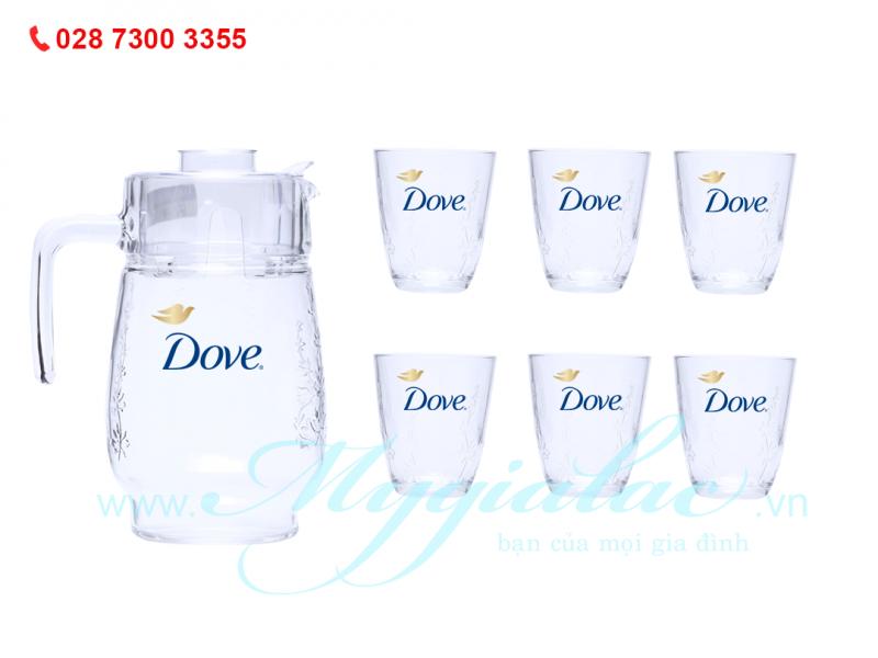Bộ Bình Ly Thủy Tinh In Logo Dove