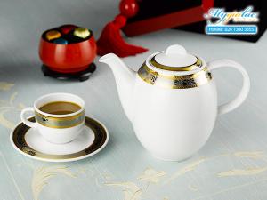 Bộ cà phê Sago Hoa Hồng Đen khắc nổi 1.3L-1