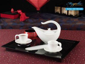 Bộ trà Anh Vũ Trắng Ngà 0.45L