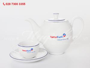 Bộ ấm trà Camellia in logo Ngân hàng VietinBank