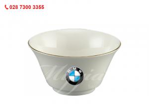 Chén Cơm Tulip Ngà Chỉ Vàng In Logo BMW
