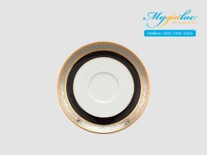 Dĩa lót chén Jasmine Hoa Hồng Đen khắc nổi 15cm