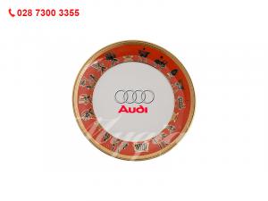 Dĩa Tulip Trắng Trống Đồng In Logo Audi