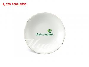 Dĩa Tròn Sâu Mẫu Đơn IFP Chỉ Vàng 20cm in Logo Vietcombank