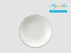 Dĩa tròn sâu Sen IFP - Chỉ Bạch Kim 25cm