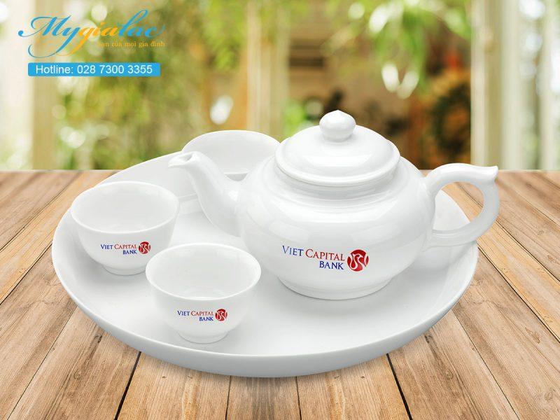 In Logo lên ấm chén sứ trắng Minh Long