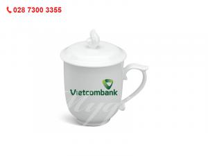 Ca Sứ Mẫu Đơn IFP Trắng Ngà In Logo Ngân Hàng Vietcombank