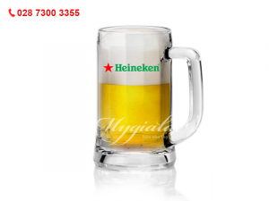 Ly Thủy Tinh Quai Sọc In Logo Heineken