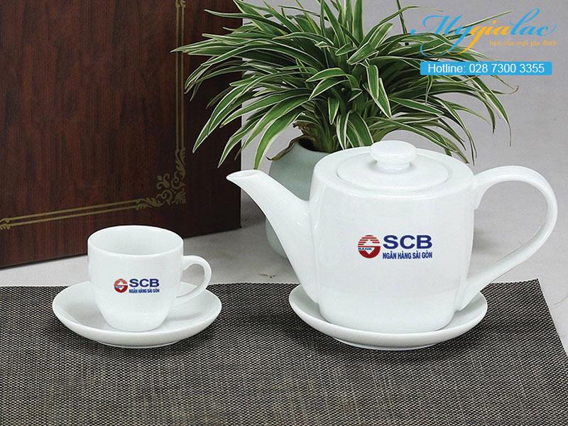 Quà tặng in logo bộ trà Bát Tràng