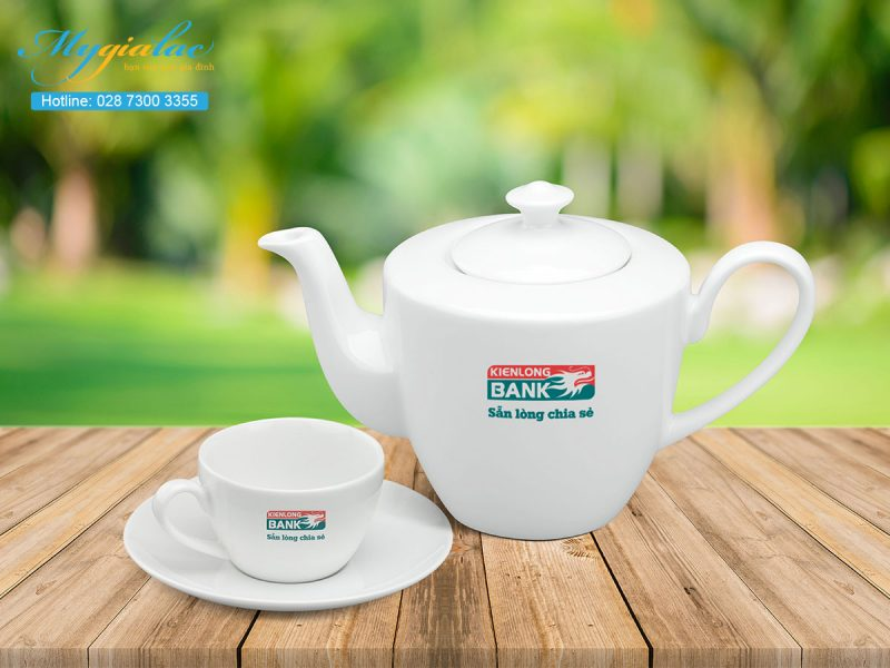 Quà tặng in logo bộ trà daisy trắng 0.65l