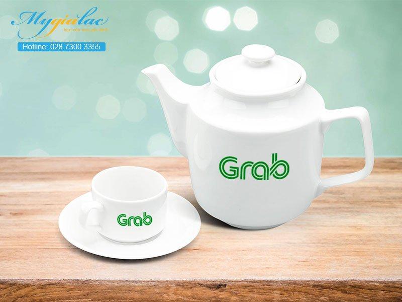 Quà tặng in logo bộ trà 0.7l Jasmine trắng