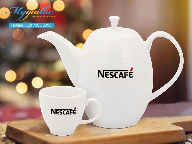 Quà tặng in logo bộ trà cao anna trắng ngà 0.47l