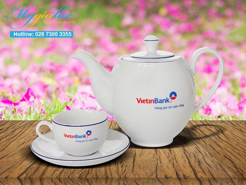 Quà tặng thương hiệu bộ ấm chén Minh Long in logo Vietinbank
