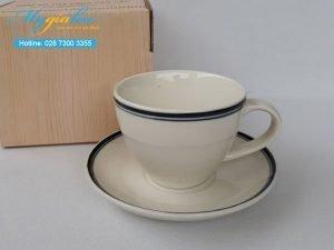 Tách Cafe 250ml Men Kem Viền Đen Mẫu 5