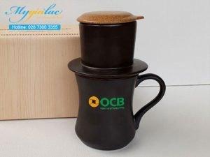 Tách Cafe Có Lọc Men Mát In Logo OCB