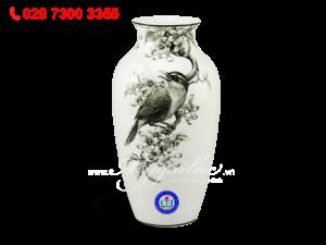 Bình hoa Họa Mi & Hoa Bưởi Trắng Đen 27cm In Logo THPT Nguyễn Huệ