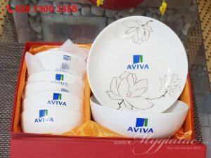 Bộ Đồ Ăn Bát Tràng In Logo Aviva