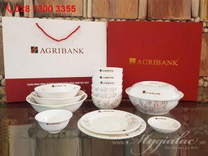Bộ Đồ Ăn Bát Tràng In Logo Agribank