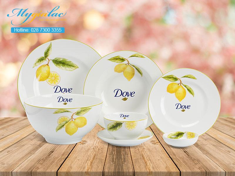 Quà Tặng 20-10 bộ bàn ăn Minh Long in logo Dove
