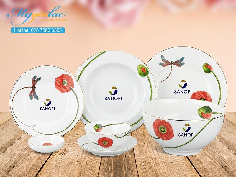 Quà Tặng 20-10 bộ bàn ăn Minh Long in logo Sanofi