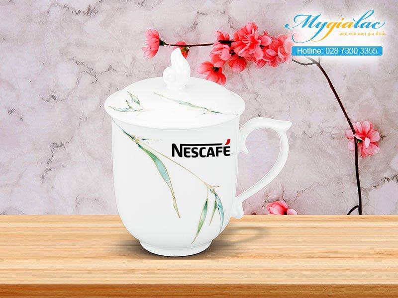 Quà Tặng 20-10 ca sứ mẫu đơn thanh trúc in logo Nescafe