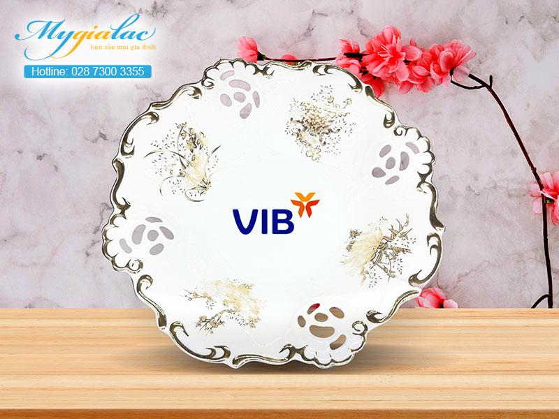 Quà Tặng 20-10 dĩa trái cây Minh Long in logo VIB