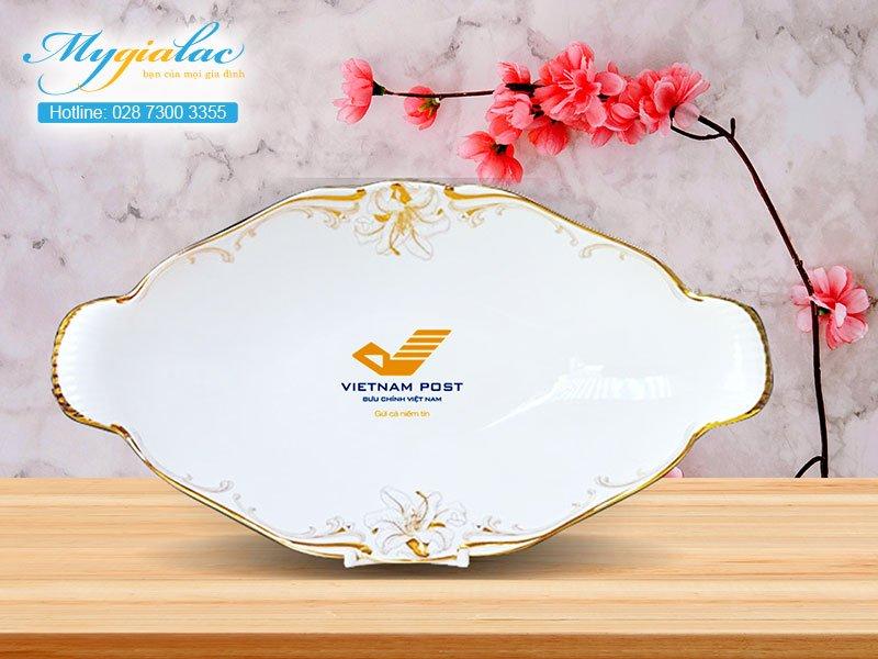 Quà Tặng 20-10 dĩa trái cây Minh Long in logo Vietnam Post