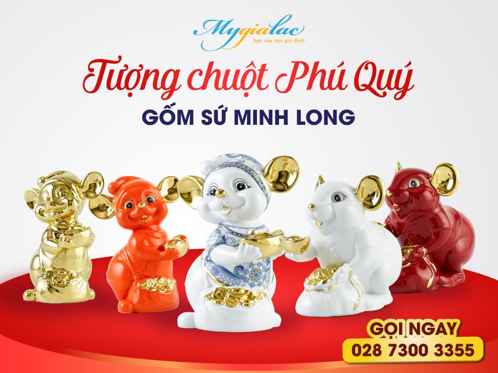Tượng Chuột Phú Quý Gốm Sứ Minh Long