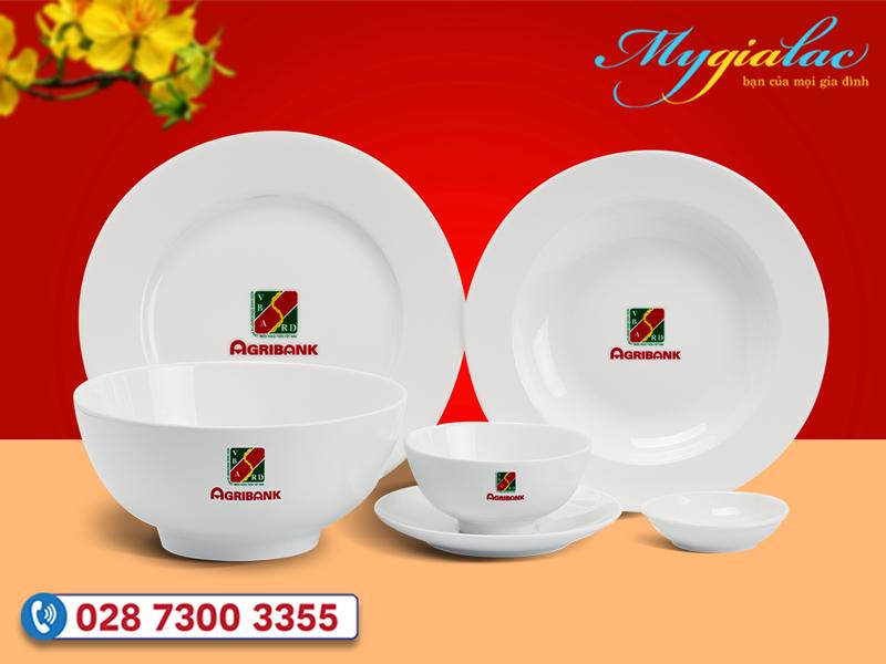 Bộ đồ ăn Minh Long Jasmine trắng in logo Ngân hàng Agribank