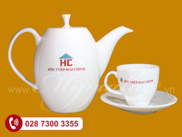Bộ trà in logo thép Hai Chinh