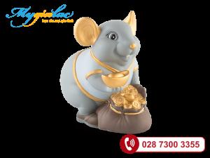 Chuột Phú Matt xanh nhạt Họa tiết trang trí vàng 24K 13cm