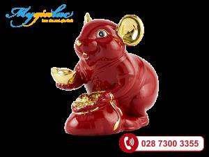 Chuột Phú Màu Đỏ Trang trí vàng 24K 13cm
