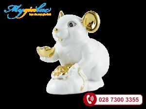 Chuột Phú Màu Trắng Trang trí vàng 24K 13cm