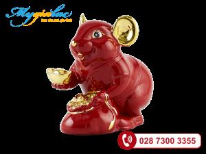 Chuột Phú Màu Đỏ Trang trí vàng 24K 8cm