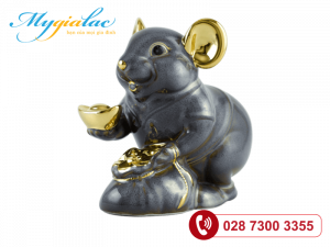 Chuột Phú Màu xám Trang trí vàng 24K 8cm