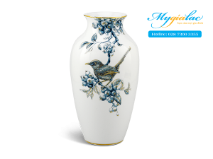 Binh Hoa 27 Cm Chich Choe Qua Quat Cobalt Vang